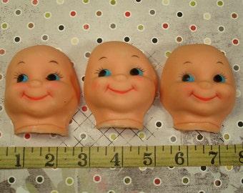 3 Vintage Doll Faces