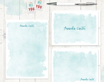 complete personalized stationery set - WATERCOLOR WASH - personalized stationary set - note cards - notepad