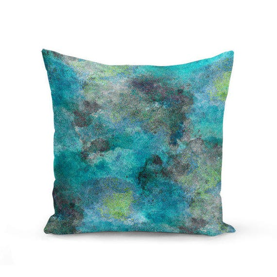 Modern Teal Decorative Throw Pillow : Throw Pillow Cover Teal Turquoise Lime Grey Modern Home Decor