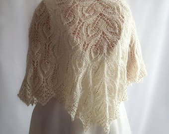 Knitted Wool Shawl, Lace Shawl, Bridal Shawl, Beaded Ivory Shawl, Wedding Shawl, Knit Shawl, Gift for her, Gift for Mum, Mothers Day Gift