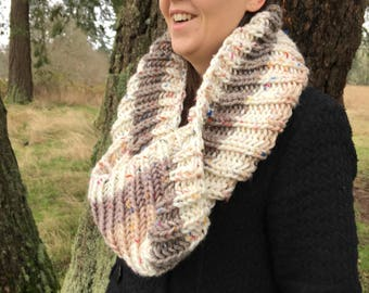 Bulky Cowl, hand knitted, Birthday Cake, Tweed