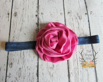 Fuchsia Pink & Navy Blue Headband - Newborn Baby Toddler Girls Adult - Pink - Headband - Photo Prop - Nautical - Baby Gift - Summer Headband