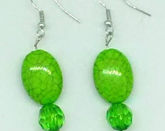 Green Marbled Oval with Clear Green Faceted Round Beaded Earrings