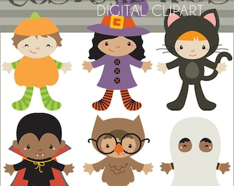 Halloween Clipart Kids in Costume -Personal and Limited Commercial Use- Children in Halloween Costumes Digital Clip Art