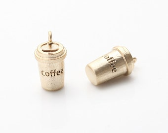 Coffee Tumbler Pendant Matte Gold-Plated - 2 Pieces <AA0086-MG>