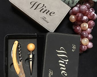 Custom wine opener with leather case, wine night, drink wine, wine theme, wine gift