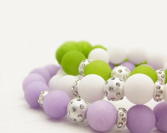 Pastel Jade Bead Bracelet Set / Violet Purple, Lime Green, White / Sterling Silver with Rhinestones / spring fashion bright colorful pale