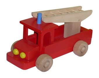 My First Fire Engine Truck, Handcrafted Push toy Car,  Vehicle, Montessori Toy, Birthday Gift, Can be personalized