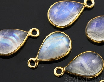 Natural Rainbow Moonstone Faceted Bezel Baby Pear, 24K Gold Vermeil Over Sterling Silver, Incredible Blue Fire,10x20mm,1 Piece, (RNM10x20)