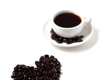 Coffee Love - Archival Print.  Coffee. Heart. Love. Kitchen. Home Decor.