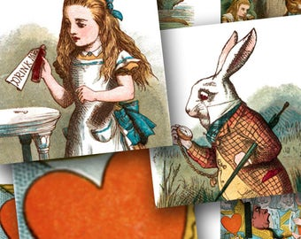 Highest Quality Alice in Wonderland digital download collage sheet 1 inch squares One -- piddix 464