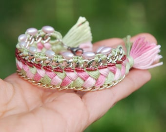 Chunky Chain Cuff Bracelet with Greenery and Pink Braid and Tassels, Woven Fiber Bracelet with Beaded Pearl Border, Statement Ethnic Jewelry