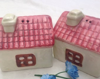 Vintage Pair Village Shop Salt and Pepper Shakers 1960's