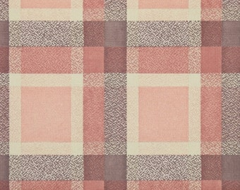 1950s Vintage Wallpaper by the Yard - Plaid Vintage Wallpaper of Pink Brown and Cream
