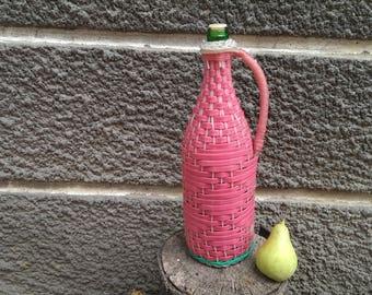 Vintage Pink Plastic Wicker Bottle, Old Green Glass Bottle, Wicker Vase, Bulgarian Traditional Bottle, Rustic Kitchen Decor