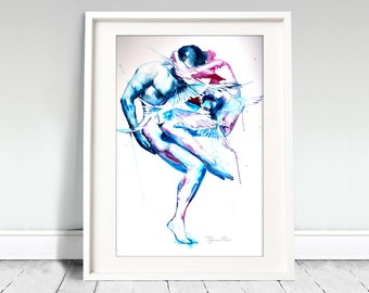 Watercolor Print.  Wall art portrait of  ballet dancers. Cause you're a sky full of stars