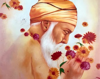 Origianl Oil Painting of Sakhi Guru Nanak Dev Ji Created by Hand By an Artist 45x35 Inches