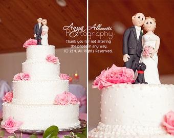Custom Bride Groom with Pet  Wedding Cake Topper