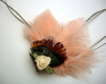 Peach feather fascinator hair clip - dainty sized