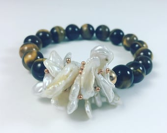 Tiger's Eye and Freshwater pearl bracelet