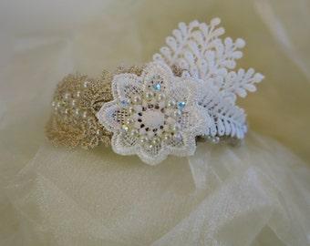 Wedding headband, 1920 headpiece, bridal headband, Great Gatsby,  pearl, lace headband, Vintage wedding, Boho style wedding accessories.