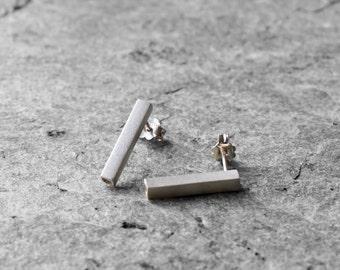 minimalist earrings, Sterling silver earrings, geometric earrings, tube earrings, modern earrings, everyday earrings, dainty earrings