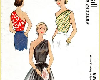 1950s 1960s one shoulder blouse vintage pattern reproduction evening top bust 30 32 34 36 38