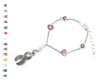 Heart Charm Bracelet - Silver Plated Chain - Heart Bracelet - With Swarovski Crystals