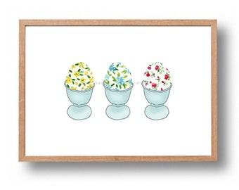 Easter eggs art print, Personalized ART print, Kitchen art, nursery decor, Personalized Easter, Floral art, Live love pray art, housewarming