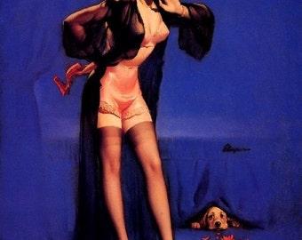 ELVGREN - DOG GONE Pin-up Crocker Spaniel stockings Lingerie, sheer robe nylons satin panties pinup