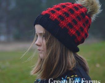 Slouchy Buffalo Plaid Beanie,  Slouchy Buffalo Plaid Hat, Fur Pom Pom, Crochet, Winter Hat, Gift for Her, Christmas Gift,  Custom