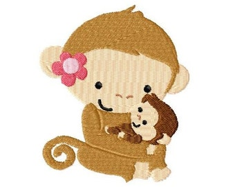 Embroidery Design Monkey Mommy and Baby 4'x4' - DIGITAL DOWNLOAD PRODUCT