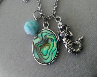 Larimar, Abalone, and Mermaid Necklace, Longer Length