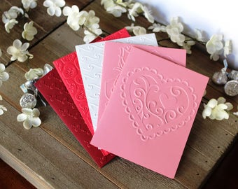 Set of 5, Handmade Embossed Valentine's Day Cards, Unique One of a Kind, Blank Inside