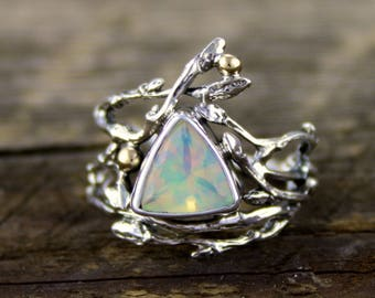 Faceted Ethiopian Opal Ring, Woodland dance, welo opal, opal ring, branch, opal engagement, twig ring, organic wedding, rustic engagement
