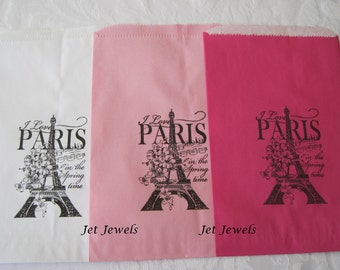 20 Paris Theme Party, Paper Bags, Gift Bags, Party Favor Bags, Candy Bags, Eiffel Tower, Paris Decorations, White Bags, Hot Pink Bags 6x9