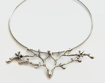 Soldered branch necklace statement twig necklace silver branch twig necklace nature bib necklace nature jewelry tree sculpture
