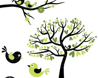 Love Birds in Lime Green and Black - Digital Clip Art