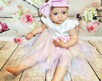 Pink & White Gingham Headwrap- Headwrap; Fabric Head Wrap; Boho; Baby Headband; Toddler Headband; Newborn Headband; Big Bow Headwrap; Turban