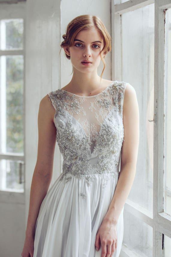 Silver gray wedding dress // Lobelia new/ Silk wedding gown