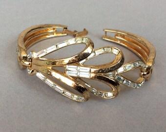 Crown Trifari Gold Tone Clear Baguette Bracelet