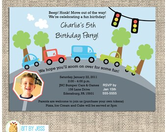 Zoom Zoom Transportation Birthday Invitations Print Your Own