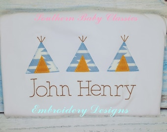 Tee Pee Tent Native American Row Blanket Stitch Applique Three Trio Design File for Embroidery Machine Instant Download Teepee Thanksgiving
