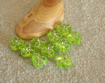 set of 10 beads Apple green heart effect rhinestones 8 * 8