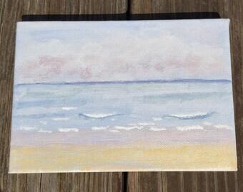 The Beach. 5x7 original acrylic painting, beach scene
