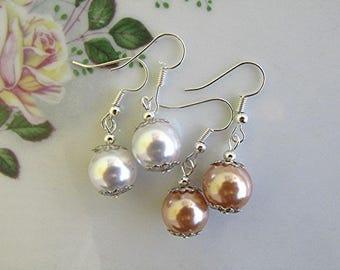 Pearl dangle earrings bridal earrings bridal pearl earrings boho vegan pearl vegan jewelry bridal gift 12mm pearl champagne pearl earrings.