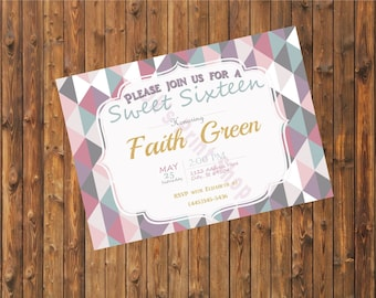 Geometric sweet sixteen Invitation