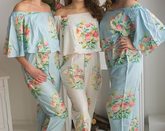 Cape Style Jumpsuit - Bridesmaids Jumpsuit - Light Blue Angel Song Pattern - Getting ready rompers, Bridesmaids Robes Alternative, Rompers