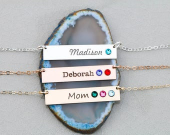 Birthstone Bar Necklace Personalize •Birthstone Necklace Mom Gift Mother's Day Birthstone Jewelry Engraved Name Custom Gift Grandma BB_18