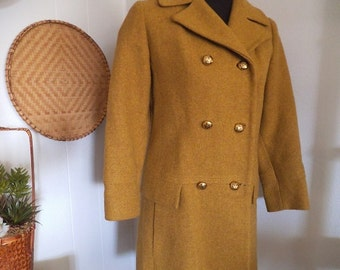 Woman's Mustard Yellow Wool coat vintage 1960s ~ Ladies Long Winter coat Double Breasted Lined USA